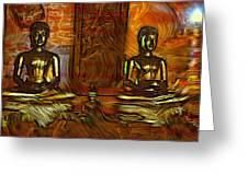Two Buddhas Greeting Card