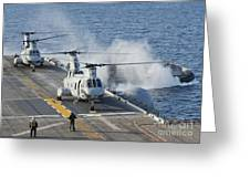 Two Ch-46e Sea Knight Helicopters Greeting Card