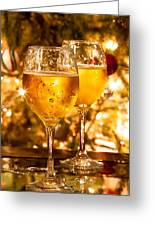 Two Champagne Glasses Ready To Bring In The New Year Greeting Card