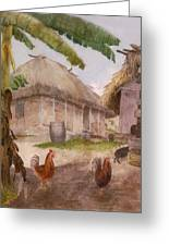 Two Chickens Two Pigs And Huts Jamaica Greeting Card