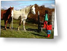 Two Children Admire Horses Greeting Card