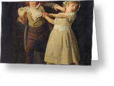 Two Children Fighting Over A Piece Of Bread Greeting Card