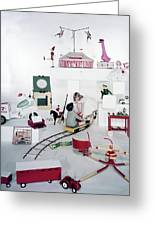 Two Children Playing With Vintage Toys Greeting Card