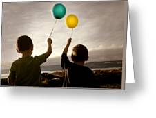 Two Children With Balloons Greeting Card