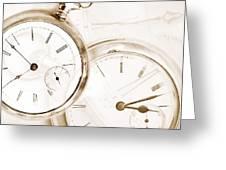 Two Clocks Greeting Card