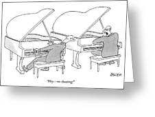 Two Concert Pianists Play Side-by-side Greeting Card