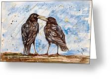 Two Crows On A Rainy Day Greeting Card