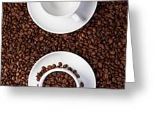 Two Cup With Coffee Beans Greeting Card by Raimond Klavins
