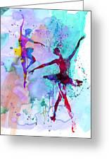 Two Dancing Ballerinas Watercolor 2 Greeting Card