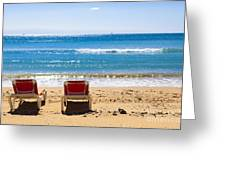 Two Empty Sun Loungers On Beach By Sea Greeting Card