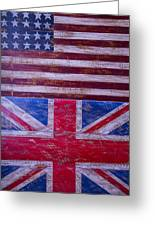 Two Flags American And British Greeting Card