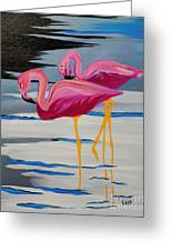 Two Flamingo's In Acrylic Greeting Card