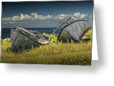 Two Forlorn Abandoned Boats On Prince Edward Island Greeting Card