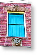 Two Gargoyle-like Figures Above And Below Window Of Moore Block In Pipestone-minnesota Greeting Card