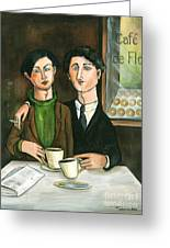 Two Gay Men In A Paris Cafe Greeting Card