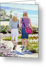 Two Girls At Dog Beach Del Mar Greeting Card