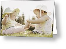 Two Girls Sit Together Greeting Card