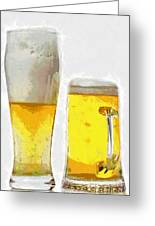 Two Glass Of Beer Painting Greeting Card