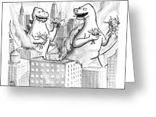 Two Godzillas Talk To Each Other Greeting Card