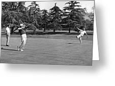 Two Golfers Body English Greeting Card