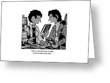 Two Guys Discuss The Value Of Books At A Library Greeting Card