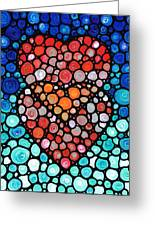 Two Hearts - Mosaic Art By Sharon Cummings Greeting Card