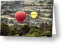 Two Hot Air Baloons Drifting Greeting Card