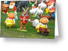 Two Joyous Gnomes And A Weird Hare Greeting Card