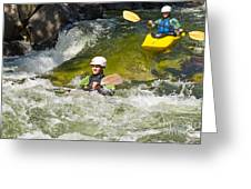 Two Kayakers On A Fast River Greeting Card