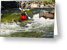 Two Kayakers On A Whitewater Course Greeting Card