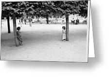 Two Kids In Paris Greeting Card