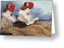 Two Ladies In A Carriage Ride Greeting Card