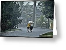 Two Ladies With One Umbrella Greeting Card by Achmad Bachtiar