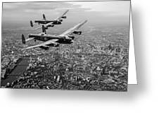 Two Lancasters Over London Black And White Version Greeting Card