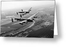 Two Lancasters Over The Upper Thames Black And White Version Greeting Card