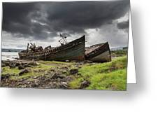 Two Large Boats Abandoned On The Shore Greeting Card