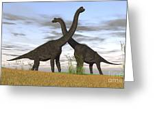 Two Large Brachiosaurus In Prehistoric Greeting Card by Kostyantyn Ivanyshen