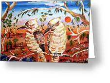 Two Laughing Kookaburras In The Outback Australia Greeting Card