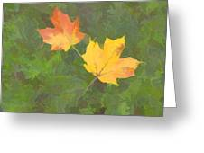 Two Leafs In Autumn Greeting Card