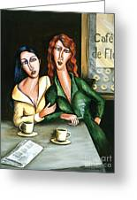 Two Lesbians In A Paris Cafe Greeting Card