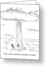 Two Lighthouse Keepers Look Up At A Boat That Greeting Card