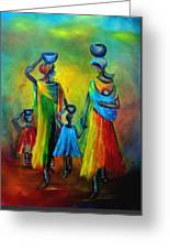 Two Little Girls Carrying Water Greeting Card