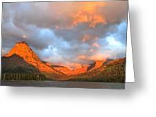 Sinopah Mountain And Two Medicine Lake Sunrise Glacier National Park Montana Greeting Card