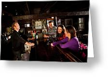 Two Men And Two Women Having Beer Greeting Card