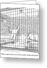 Two Men In A Jail Cell. One Is Examining A Wall Greeting Card