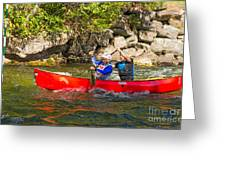 Two Men In A Tandem Canoe Greeting Card