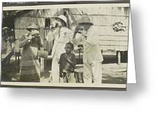 Two Men In Tropical Clothing And A Woman Drinking From Bowls Greeting Card