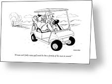 Two Men Ride In A Golf Cart Greeting Card
