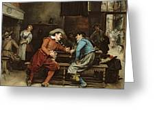 Two Men Talking In A Tavern Greeting Card
