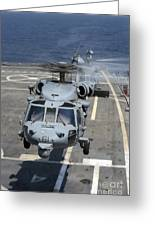 Two Mh-60s Sea Hawk Helicopters Take Greeting Card